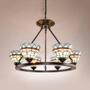 Dome Dining Room Chandelier Stained Glass 6 Lights Mediterranean Style Pendant Light