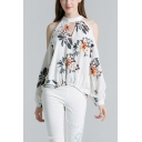 New Arrival White Halter Cold Shoulder Floral Print Cut Out Detail Asymmetric Hem Chiffon Blouse Top