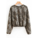 New Stylish Women's Leopard Print Round Neck Long Sleeve Elastic Hem Slim Fit Khaki Sweatshirt