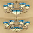 Mediterranean Style Dome Shade Chandelier Art Glass Blue Suspension Light for Living Room