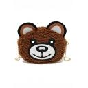 Cute Cartoon Bear Pattern Mini Plush Crossbody Purse with Chain Strap 20*7*16 CM