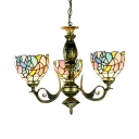 Domed Shade Suspension Light 3 Lights Tiffany Style Stained Glass Chandelier for Coffee Shop
