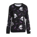New Stylish Bat Floral Skull Print Round Neck Long Sleeve Black Pullover Sweatshirt