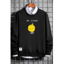 Hot Fashion Cute Lemon Printed MR.CITRON Letter Long Sleeve Round Neck Pullover Unisex Sweatshirt