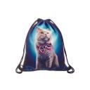 Trendy Creative 3D Bow Cat Printed Blue Storage Bag Drawstring Backpack 30*39 CM