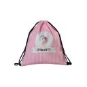Hot Fashion Cartoon Unicorn Letter Stripe Printed Pink Drawstring Storage Bag Backpack 30*39 CM