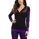 Hot Fashion Women's Stripe Print Patchwork Long Sleeve Slim Fit Sport Hoodie