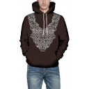 3D Tribal Floral Print Brown Long Sleeve Drawstring Hoodie with Pocket