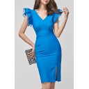 Womens Summer Simple Plain V-Neck Ruffled Sleeve Gathered Waist Split Side Midi Blue Sheath Dress