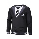 New Personalized Fake Two Pieces Blazer Print Stripe Contrast Hem Round Neck Long Sleeve Black Pullover Sweatshirt