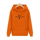 Simple PERFECT Letter Long Sleeve Regular Fitted Unisex Hoodie with Pocket