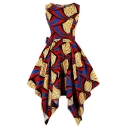 Women's Fashion Vintage Round Neck Sleeveless Bow-Tide Waist Tribal Print Midi Asymmetric Hem Red Dress