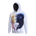 Men's Lion 3D Print Long Sleeve White Hoodie with Pocket