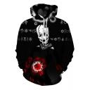 Black 3D Skull Magic Ball Pinted Drawstring Long Sleeve Hoodie with Pocket