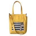 Fashion Color Block Stripe Printed Letter Ribbon Canvas School Shoulder Bag 33*6*38 CM