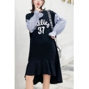 Women's Trendy Round Neck Long Sleeve Letter BIEEIUG Patch Plaid Midi Asymmetric Dress