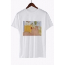 Popular Short Sleeve Round Neck Van Gogh Oil Painting White Tee