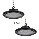 Slim UFO Workshop Factory Bay Light 1/2 Pack Aluminum 150/200W LED Pendant Lighting in Black