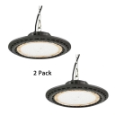 150W Black LED High Bay Light 1/2 Pack Slim UFO Aluminum Warehouse Light for Stadium Garage