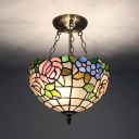 Bowl Shade Ceiling Light with Rose Tiffany Style Rustic Stained Glass Hanging Lamp for Hallway