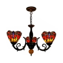Dragonfly Pattern Ceiling Light 3 Lights Tiffany Style Rustic 3 Lights Chandelier in Red for Foyer