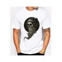 Cool Skull Printed White Round Neck Short Sleeve Tee