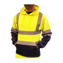 Cool Fluorescent Stripe Colorblock Long Sleeve Drawstring Sporty Hoodie with Pocket