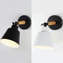 Metal Bucket Wall Light Hotel Restaurant 1 Light Contemporary Rotatable Sconce Light in Matte Black/White
