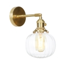 1/2 Pack Clear Glass Wall Light Melon Shade 1 Light Vintage Style Sconce Light in Brass for Bedroom