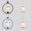 Curved Hallway Pendant Lighting Metal 1 Light Traditional Ceiling Lamp in Black/Blue/Pink/White