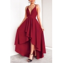 Women's Sexy Plunge Neck Sleeveless Plain Asymmetric Hem Maxi Cami Dress