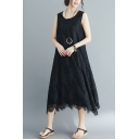 Summer Stylish Loose Round Neck Sleeveless Plain Lace Patch Plus Size Midi Tank Dress