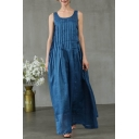Women's Style Scoop Neck Sleeveless Plain Maxi Casual Loose Tank Pleated Blue Dress With Pockets
