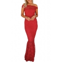 Women's Elegant Off The Shoulder Plain Lace Patch Fishtail Hem Floor Length Bodycon Dress
