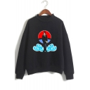 Trendy Comic Anime Comic Anime Character Cloud Printed Long Sleeve Mock Neck Pullover Sweatshirt
