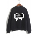 New Fashion Comic Logo Printed Mock Neck Long Sleeve Pullover Sweatshirt