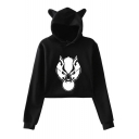 Cute Ear Hood Design Long Sleeve Wolf Head Printed Cropped Hoodie