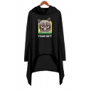 Hot Fashion Grumpy Cat Letter YOUR GIFT Long Sleeve Mini Hooded Asymmetrical Dress