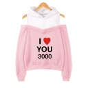 Father's Day Popular Heart Letter I LOVE YOU 3000 Cold Shoulder Long Sleeve Pullover Hoodie