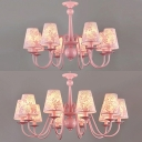 Tapered Shade Living Room Chandelier with Flower Metal 8/10 Lights Hanging Lamp in Pink
