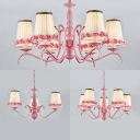 Fabric Tapered Shade Chandelier Bedroom Hotel 3/5/6 Lights Rustic Style Suspension Light in Pink