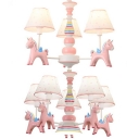 Child Bedroom Tapered Shade Pendant Light with Unicorn Resin 3/5 Lights Lovely Pink Chandelier