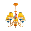 5 Lights Tapered Shade Chandelier Traditional Metal Fabric Hanging Light in Yellow for Child Room