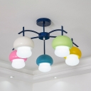 Contemporary Colorful Ceiling Light Mushroom Shade 5 Lights Glass Ceiling Lamp with White Lighting for Bedroom