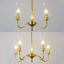 Candle Shape Stair Hallway Chandelier Metal 3/5 Lights Colonial Style Pendant Light in Brass
