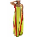 Women's Stylish Spaghetti Straps Sleeveless Stripes Printed Maxi Slip Swing Yellow Dress