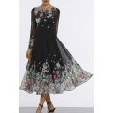 Women's Elegant Round Neck Long Sleeve Floral Printed Mesh Detail Maxi Swing Black Dress