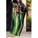 Women's Unique V-Neck Long Sleeve Tribal Printed Maxi Kaftan Black Dress