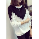 Hot Fashion Colorblock Round Neck Long Sleeve Lace Patchwork Sweatshirt