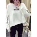 UPREM Letter Round Neck Cut Out Long Sleeve Cotton Sweatshirt